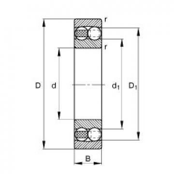 105 mm x 225 mm x 49 mm  FAG 1321-M  Rolamentos autocompensadores de esferas